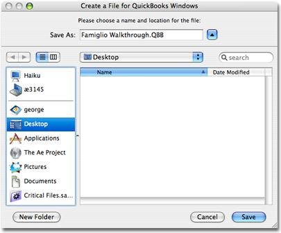 Save the Mac QuickBooks File to your desktop